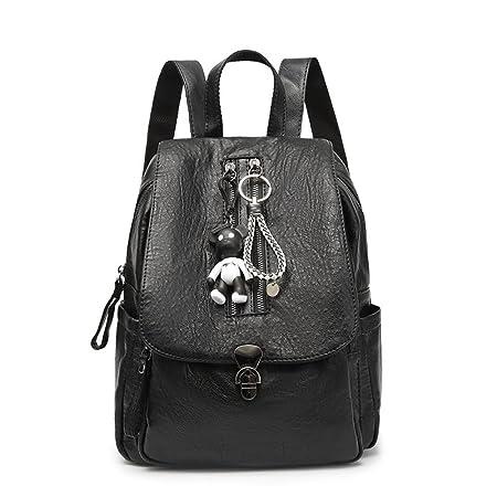 153a993d719d3 Mittel-Großer Lederrucksack Cityrucksack für Damen schwarz Vintage Hot  Casual Täglichen Echtem Leder Rucksack Tasche