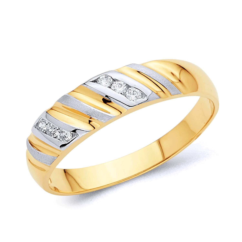 Wellingsale Mens Solid 14k Yellow Gold Polished CZ Cubic Zirconia Wedding Band