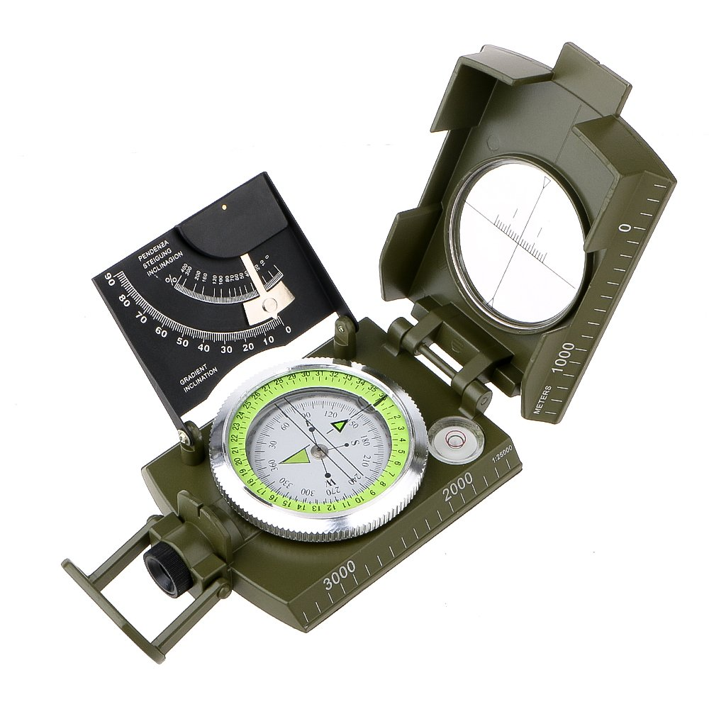 Archeer Professional Compass Metal Aluminum Alloy Compass Pocket Size Waterproof 50mm Dial Compass Multifunction Military Army Sighting Compass with Inclinometer for Camping Hiking