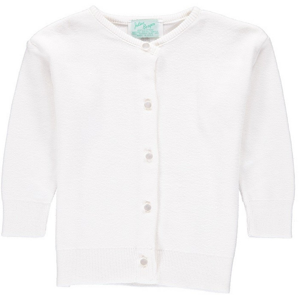 Julius Berger Little Girls White Cotton Cashmere Waist Length Sweater 2T-6X