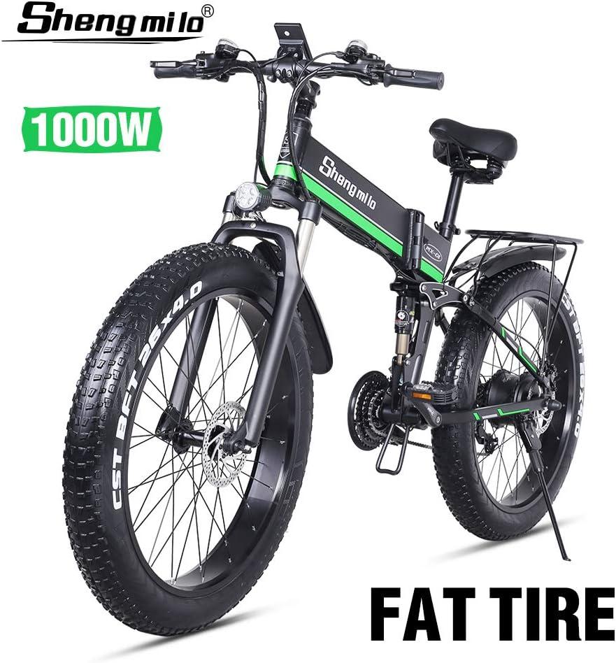 Shengmilo-mx01 26 Pulgadas Bicicleta Eléctrica para Nieve, 1000w 48v 13ah Bicicleta De Montaña Plegable El Freno De Disco Eléctrico Hidráulico Auxiliar De Velocidad Shimano 21