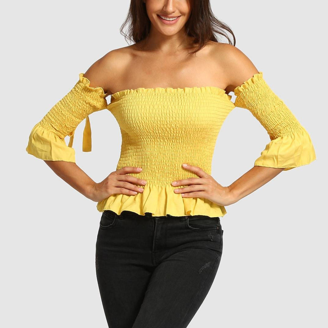 66fae6f5277 2018 Women Solid Tight Half Sleeve Shirt Slash Neck Backless Off Shoulder  Tops Blouse at Amazon Women s Clothing store
