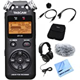 Tascam DR-05 Portable Digital Recorder (DR-05) with Accessory Pack for DR Series, Closed-Back Professional Headphones Black & Beach Camera Micro Fiber Cloth