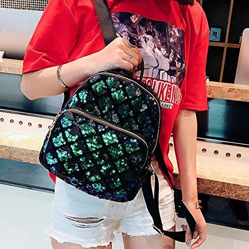 Girls School Rucksack Women Handbag PU Domybest Sequin Shoulder Zipper Green Backpack Shining Small BTvXYFq