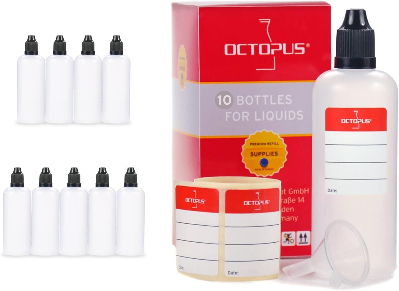 Octopus Frascos para líquidos de 100 ml con Embudo y Etiquetas, E-líquidos o Cigarrillos electrónicos, frascos cuentagotas o exprimibles más tapón Negro con Cierre de Seguridad para niños