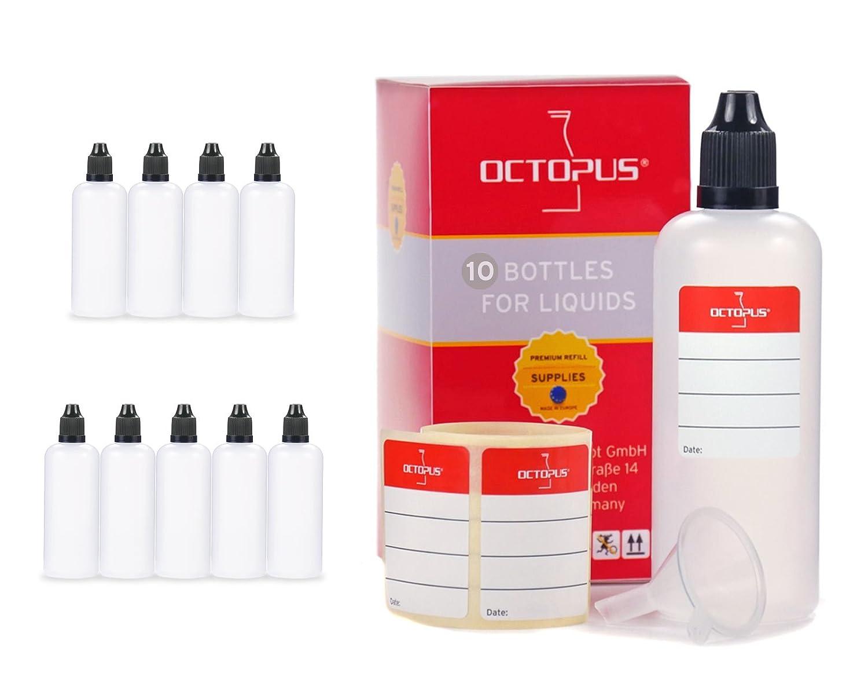 Frascos para líquidos de 100 ml con embudo y etiquetas, E-líquidos o cigarrillos electrónicos, frascos cuentagotas o exprimibles más tapón negro con cierre de seguridad para niños Octopus Concept GmbH