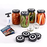 Fermentation kit for Wide Mouth Mason Jars Include 4 Airlock Fermentation lids Pack, 2 Glasss Weights, Air Extractor Pump and