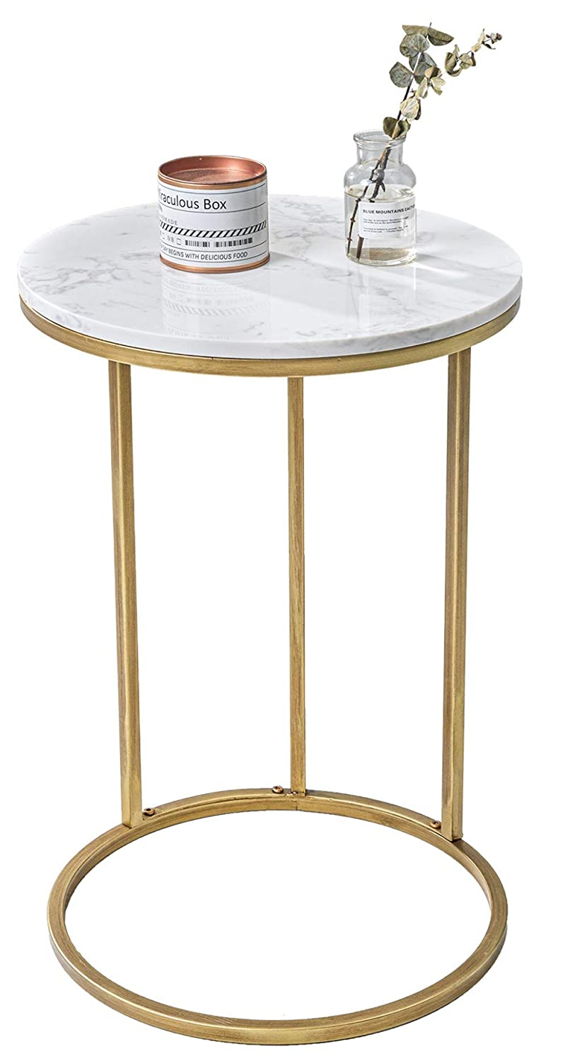 C Table C Shaped Side Tables Modern Sofa Table For Coffee Laptop Living Room Or Bedroom With Metal Frame And Marble Top Amazon In Home Kitchen [ 1500 x 806 Pixel ]