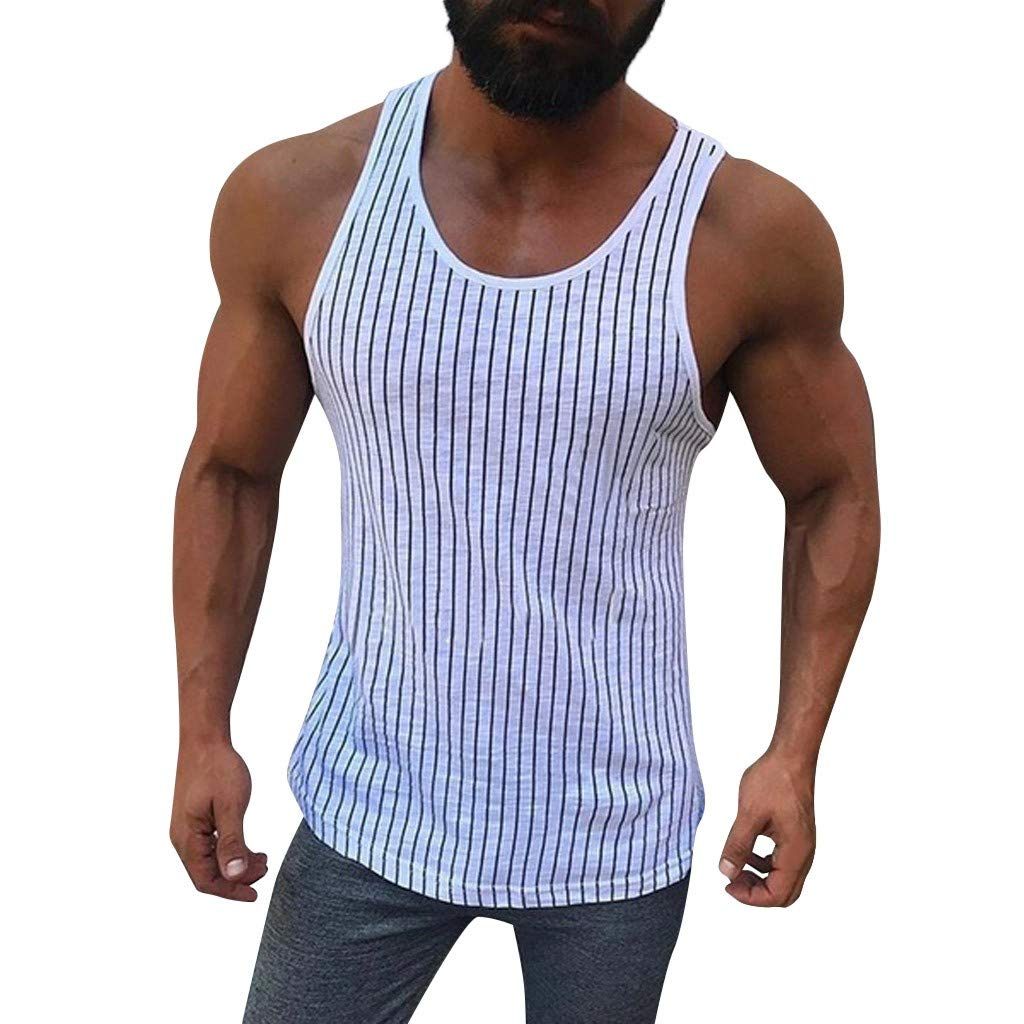 NUWFOR Men Fitness Muscle Striped Print Sleeveless Bodybuilding Tight-Drying Vest Tops(White,S US Bust:36'')