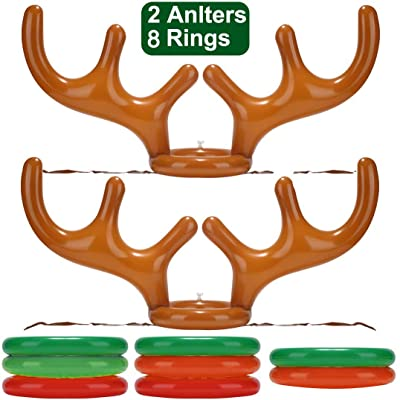 2 Pack Inflatable Reindeer Antler Ring Toss Game for Christmas Halloween Thanksgiving Xmas Party Game Headband Inflatable Toys for Holiday Family School Photo Props Game(2 Antlers, 8 Rings) : Sports & Outdoors