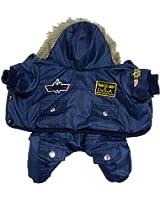 Manteau pour chien vêtement doudoune capuche hiver noir USA