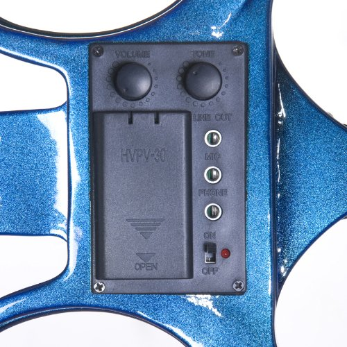 Cecilio L1/2CEVN-L1BL Left-Handed Solid Wood Blue Metallic Electric Violin with Ebony Fittings in Style 1