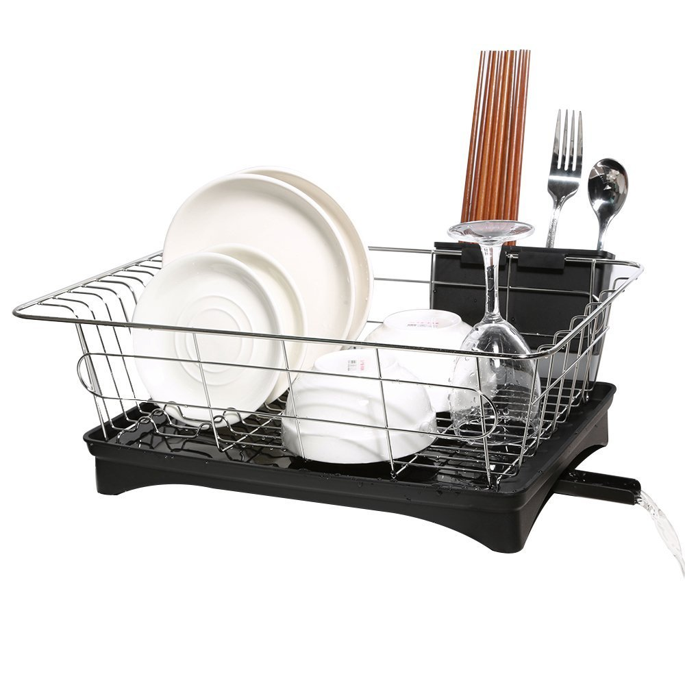 Dish drying rack stainless steel dish drainer and tray with black rustproof drainboard set for small kitchen counter utensil holder beside the sink by