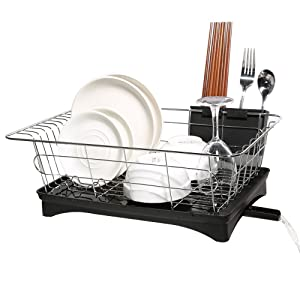 Dish Drying Rack, Dish Racks with Drain Board Utensil Holder Stainless Steel Generic Plate Dishes Drainer for Kitchen Counter over Sink Sturdy DrainBoard- 16.7 x 11.2 x 5.9 IN (1 tier)