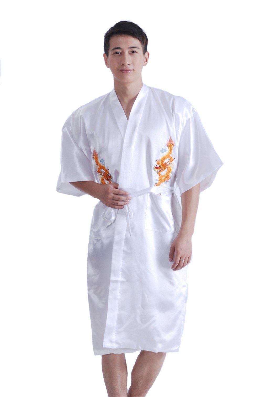 YueLian Men's Satin Robe Sleepwear Nightgown Chinese Dragon Bathrobe (White)