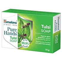Himalaya Pure Hands Tulsi Soap, Superior Germ Protection, Grad 1 Soap 7% TFM, 75 g, Pack of 6