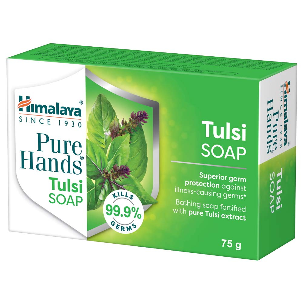 Himalaya Pure Hands Tulsi Soap, Superior germ protection (Grad 1 Soap 76% TFM) - 75 g (Pack of 6)