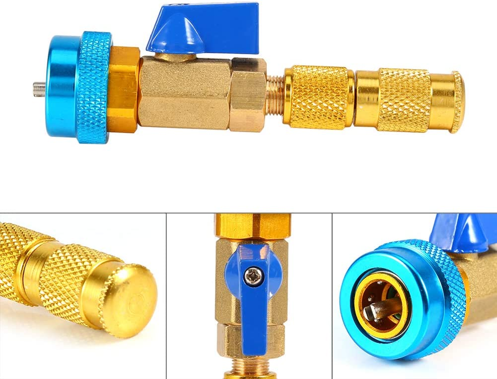 Madezz Valve Core Remover Tool Air Conditioning R134A Valve Core Quick Remover Installer High Low Pressure Tool