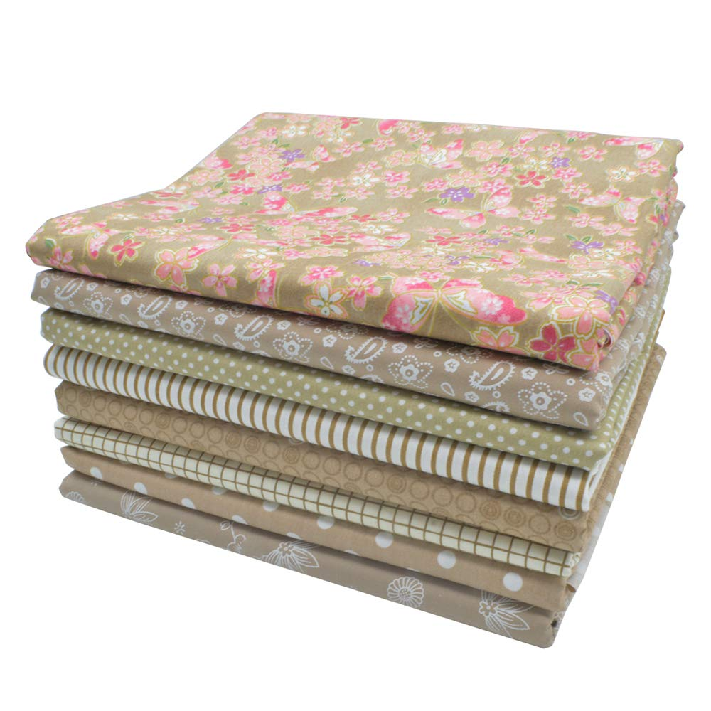 iNee Light Coffee Fat Quarters Fabric Bundles, Quilting Sewing Fabric, 18 x 22 inches,(Light Coffee)