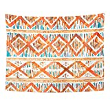 VaryHome Tapestry Colorful Batik Watercolor Ikat Vibrant Ethnic Rhombus Pattern in Watercolour Style Orange Indonesia Home Decor Wall Hanging for Living Room Bedroom Dorm 60x80 Inches