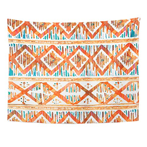 VaryHome Tapestry Colorful Batik Watercolor Ikat Vibrant Ethnic Rhombus Pattern in Watercolour Style Orange Indonesia Home Decor Wall Hanging for Living Room Bedroom Dorm 60x80 Inches - Bali Batik Tablecloth