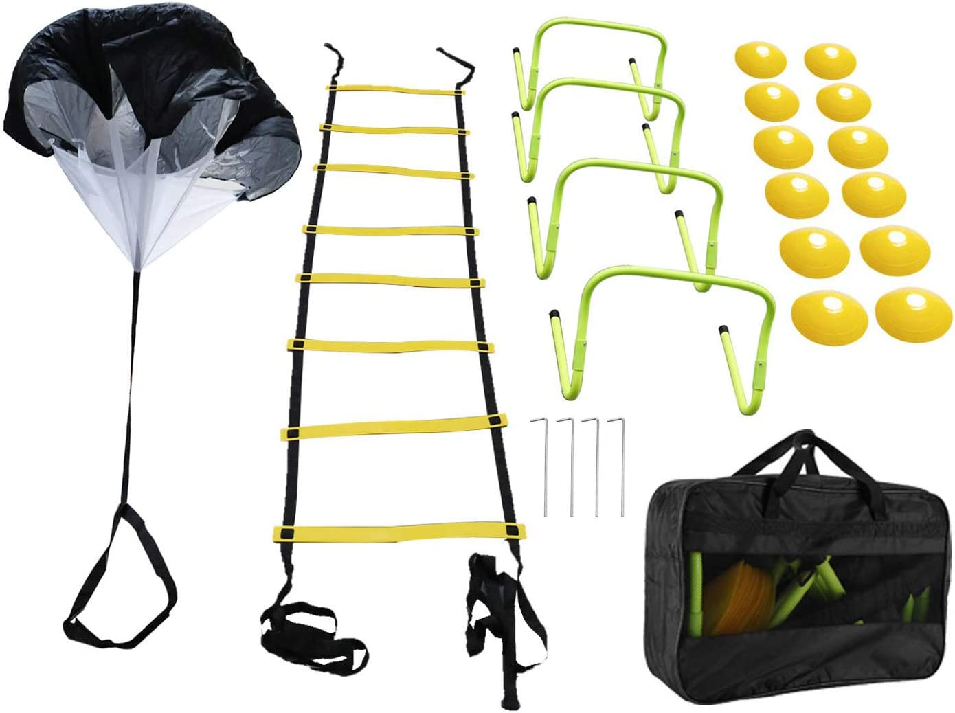 Yaegoo Speed Agility Training Set, Include 1 Resistance Parachute, 1 Agility Ladder with 4 Steel Stakes, 4 Adjustable Hurdles, 12 Disc Cones and a Storage Bag : Sports & Outdoors