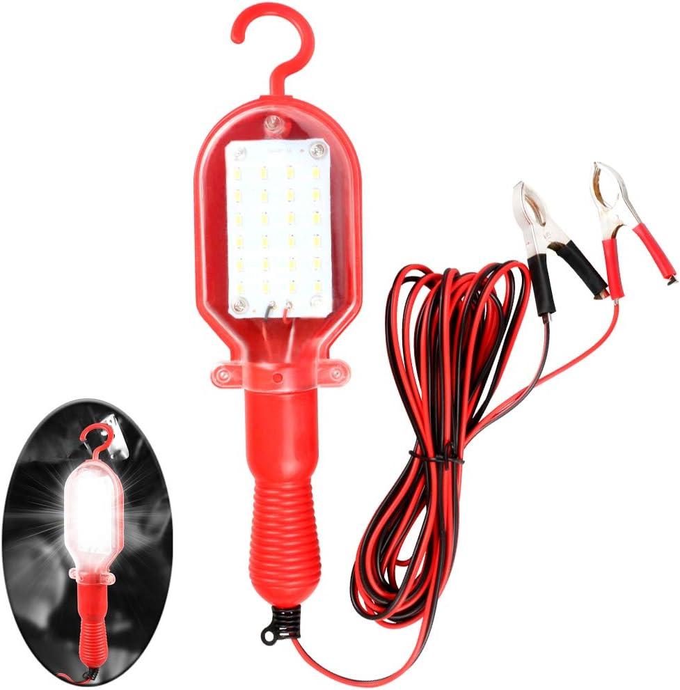 VXCAN Luz LED de Trabajo port/átil de 20 W con Abrazadera de bater/ía iluminaci/ón s/úper Brillante Manos Libres para Taller de reparaci/ón de Auto de 12 V//24 V