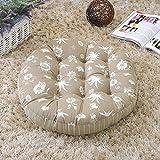 TMJJ Round Cotton Linen Floor Pillow Cushion Japanese Futon Seat Cushion Thicken Chair Wave Window Pad 21 x 21-inches,Flower Khaki