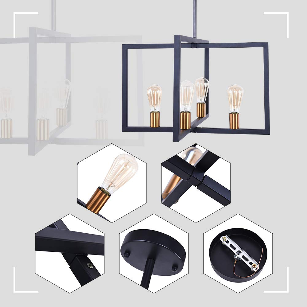 Lingkai Modern Kitchen Island Light 4-Light Chandelier Pendant Light Ceiling Lighting Fixture Industrial Matte Black with Antique Brass Finish by Lingkai (Image #4)