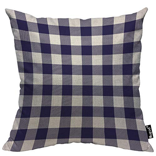Pillow Checkered (Mugod Buffalo Checker Decorative Throw Pillow Cover Case Checkered Plaid Oblique Stripe Navy Blue Purple White Cotton Linen Pillow Cases Square Standard Cushion Covers for Couch Sofa Bed 18x18 Inch)