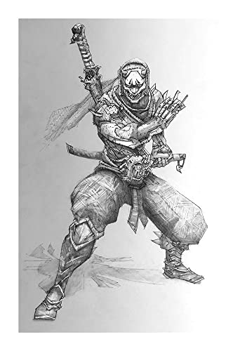 Genji giclee print of pencil drawing of offense class character from overwatch video game