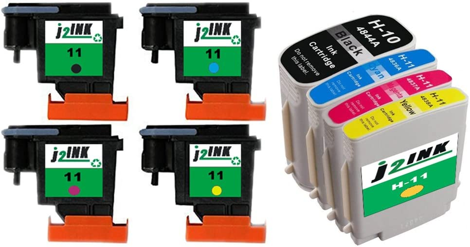 J2INK Refurbished Combo 4 11 C4810A C4811A C4812A C4813A Printhead Print Head & 4 Combo Pack Ink Cartridge for 10 11 Designjet 100 110 70 CP 1700