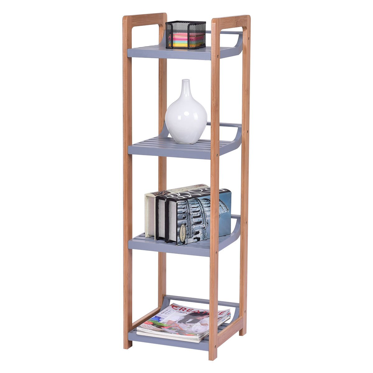 totoshop Multifunction Storage Tower Rack Shelving Shelf Units Stand Bamboo New 4 Tier by totoshop (Image #9)