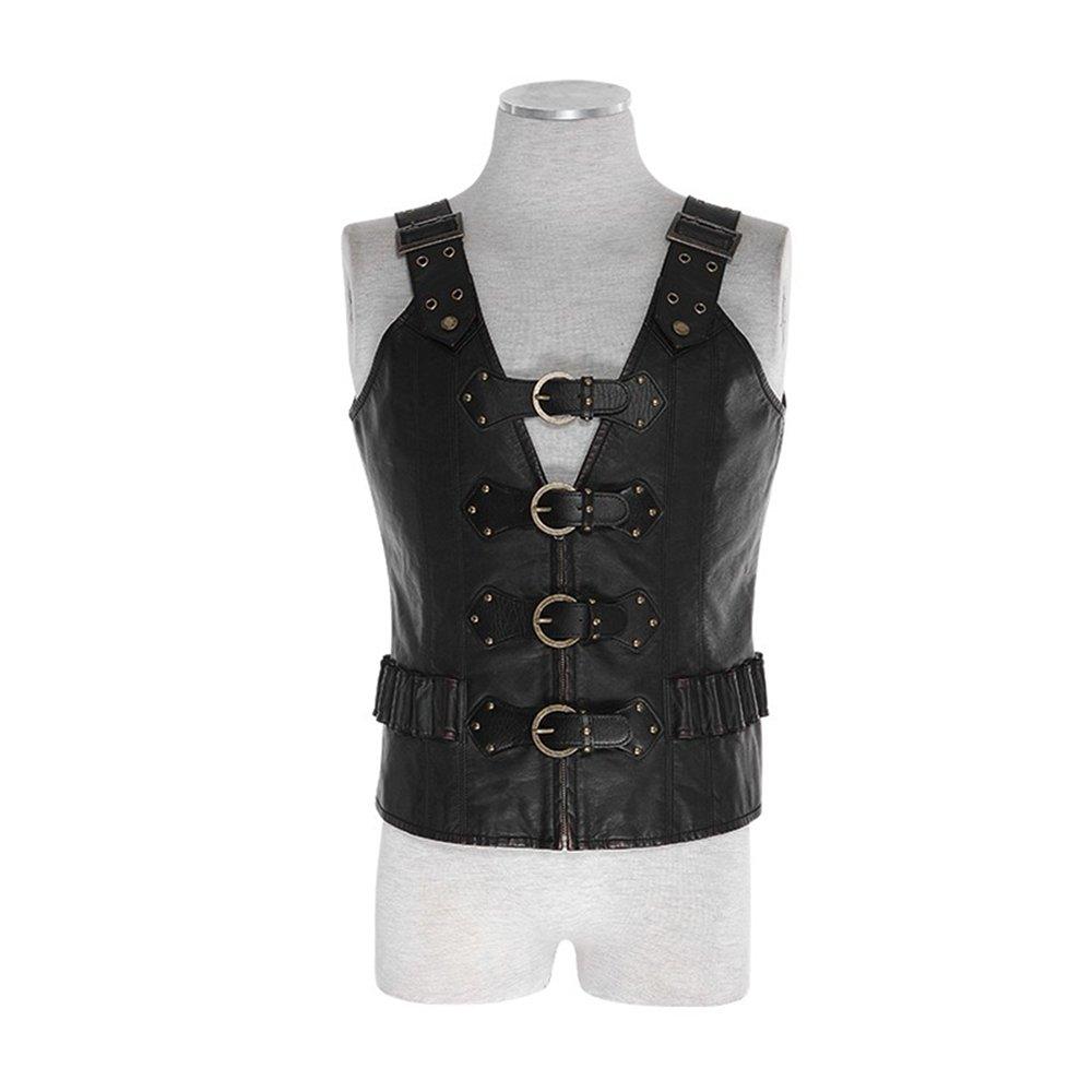 8f140d6fa3ac8 Punk Men Wash Leather Vest Handsome Army Uniform Strap Waistcoat Clip  Bulletproof Combat PU Vest (XXXXL) Black at Amazon Men s Clothing store