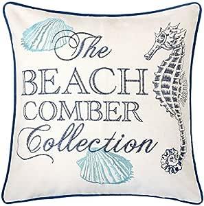 Homey Cozy Embroidery Cotton Canvas Throw Pillow Cover The Beach Comber Collection Navy Aqua Nautical Decorative Pillow Case Coastal Beach Theme Home Decor 20x20 Cover Only Kitchen Dining Amazon Com