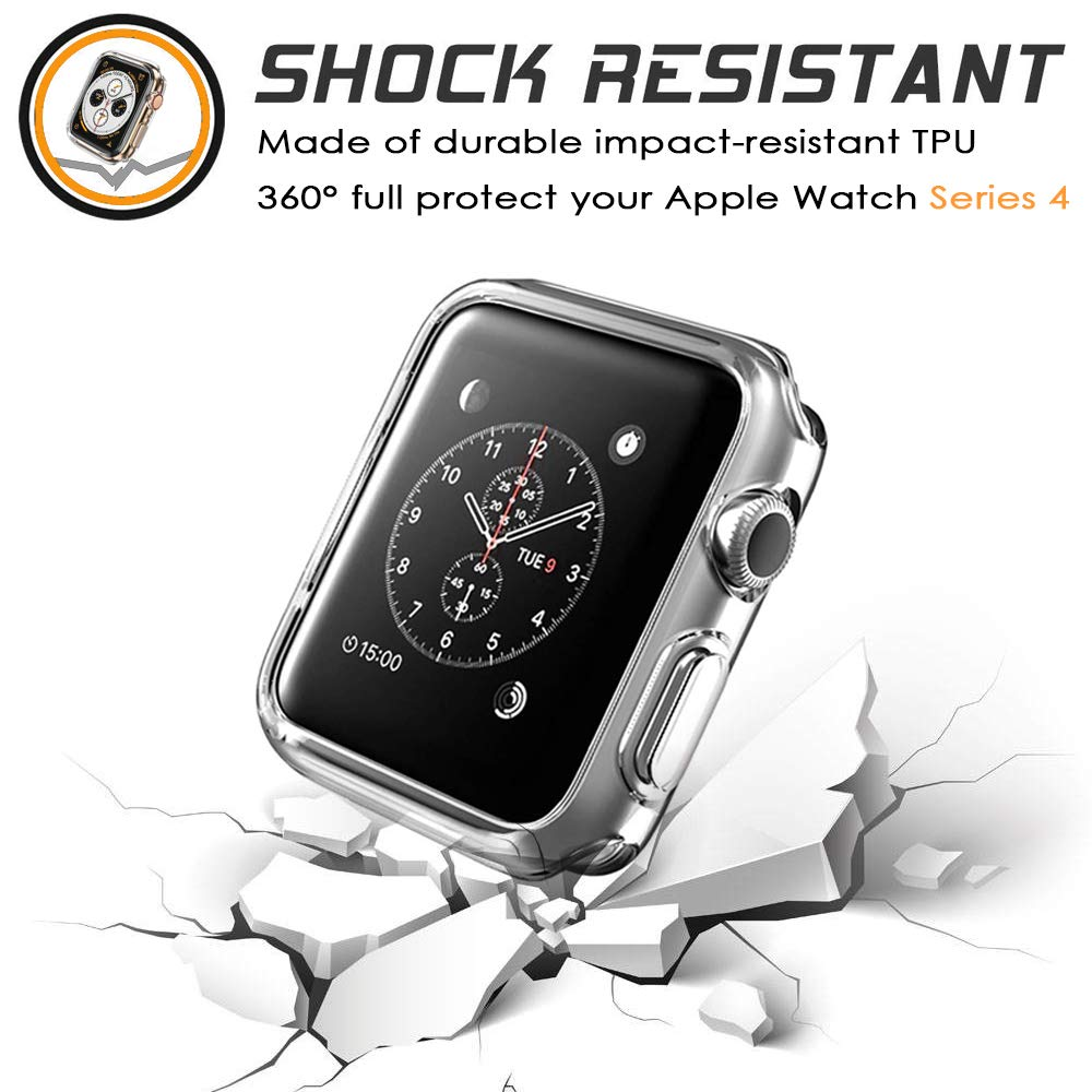 2 Packs, Jinxtech 40mm iWatch Case Soft TPU Shockproof Case Cover Bumper Protector Compatible with Apple Watch Case Series 4 (40mm)(Clear) by Jinxtech (Image #3)