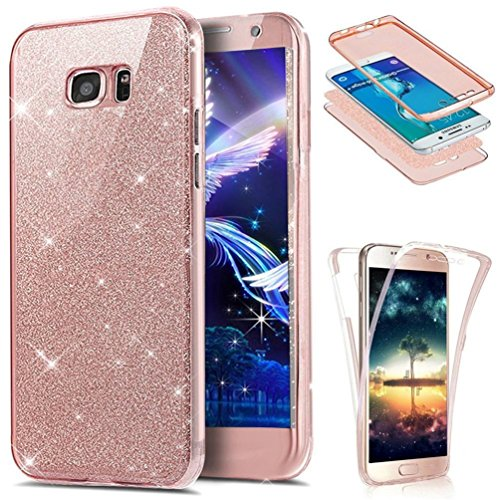 Galaxy S7 Edge Case,LEECOCO 360 Degree All-round Protective Case Bling Glitter Sparkly Anti Scratch Soft Transparent TPU Case Cover for Samsung Galaxy S7 Edge - Full Glitter Rose (Full Cover Case)