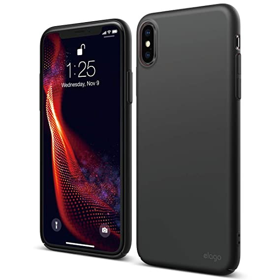 huge selection of 2fe25 ffc9d elago Slim Fit Series for iPhone Xs Max Case [Black] - [Matte Finish][Full  Covered][Camera Protection][Support Wireless Charging][Scratch & Minor Drop  ...