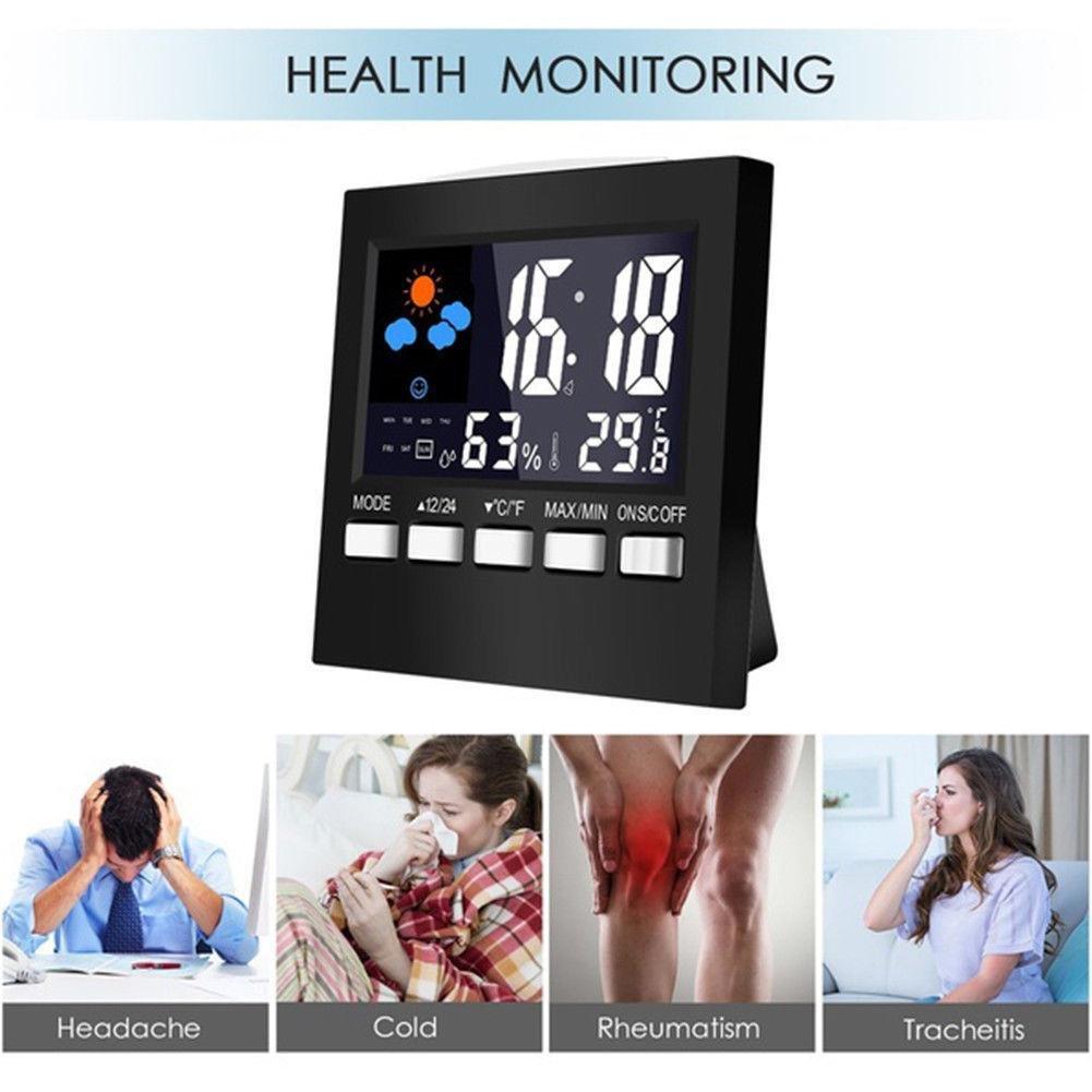 Eachbid 1pc Digital LCD Temperature Humidity Meter Alarm Clock Indoor Home Thermometer