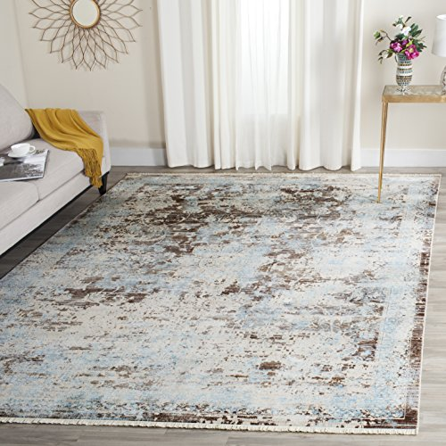 Safavieh Vintage Persian Collection VTP417T Traditional Oriental Brown and Light Blue Area Rug (9' x 11'7