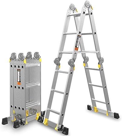 ZR- Escalera De Extensión, Escalera Plegable Multiusos Aluminio Escalera Extensible De Seguridad Escalera De Bloqueo Bisagras De Bloqueo 330lbs Capacidad EN 131 Estándar -Fácil de almacenar y fácil de: Amazon.es: Hogar