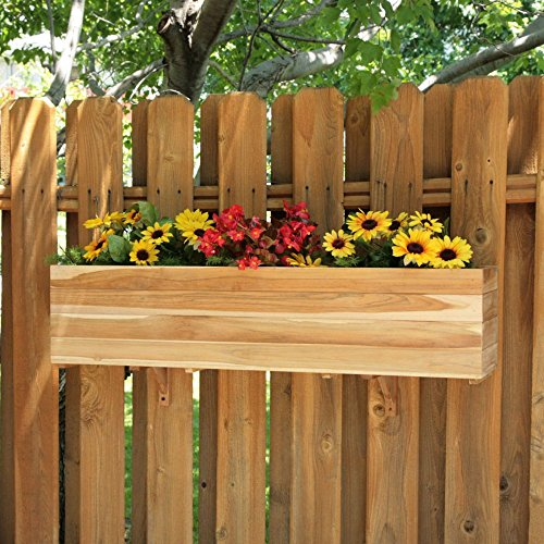 Rectangle Teak Wood Sunshine Flower Box by Diamond
