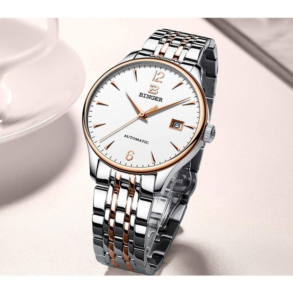BINGER herrklocka, automatiska mekaniska klockor elegant enkel vattenresistens armbandsur med datumvisning 5082M-1 Steel Strap - Gold White