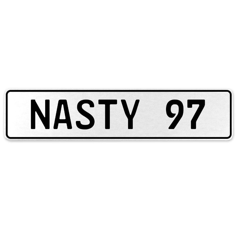 Vintage Parts 556971 Nasty 97 White Stamped Aluminum European License Plate