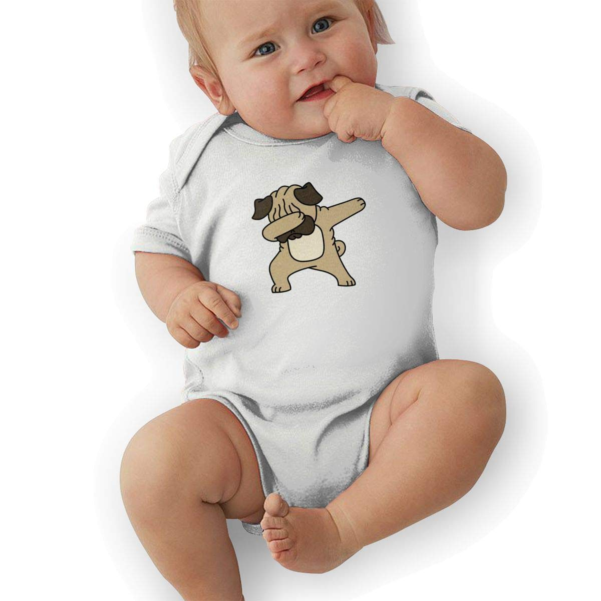 BONLOR Cute Dabbing Dog Baby Boys Girls Jumpsuits Short Sleeve Romper Bodysuit Bodysuit Jumpsuit Outfits White