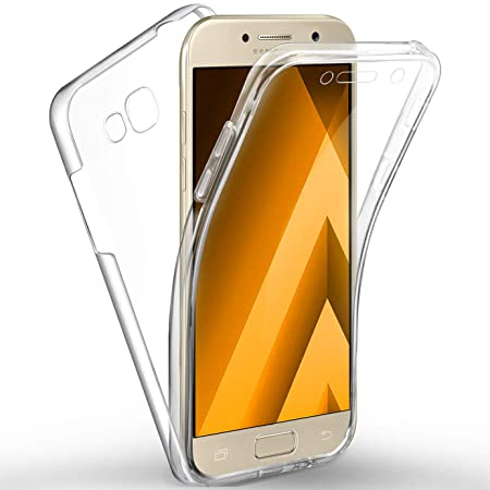 AROYI Galaxy A5 2017 Hülle 360 Grad Handyhülle, Silikon Crystal Full Schutz Cover [ 2 in 1 Separat Hart PC Zurück + Weich TPU