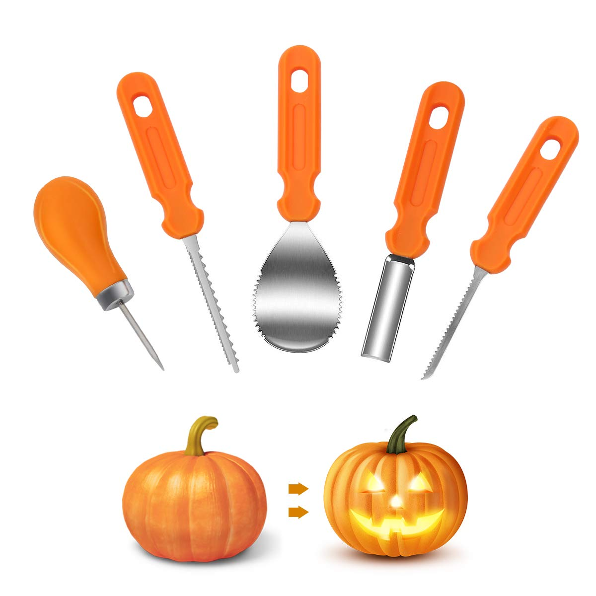 Pumpkin Carving Kit,5 Pieces Durable Stainless Steel Professional Pumpkin Carving Tools Set - Cuts, Scoops,Scrapers,Saws,Loops,Knives for Halloween Decoration Easily Sculpting Jack-O-Lanter (5) by HiFra