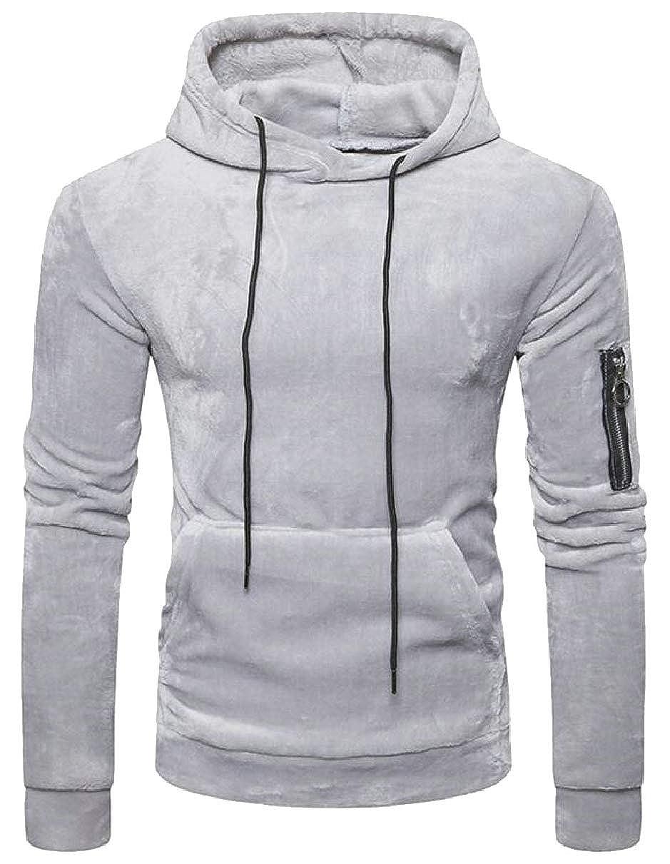 ZXFHZS Men Autumn Winter Velvet Pullover Hoodie Hooded Long Sleeve Sweatshirt