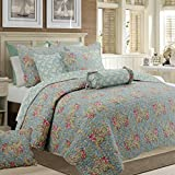 Cozy Line Home Fashions Floral Paisley Quilt Bedding Set, French Country Vintage Blue Pink Flower 100% COTTON Reversible Coverlet Bedspread, Gifts for women (Grey Blue Floral, King - 3 piece)