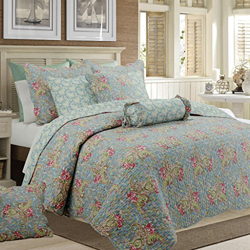 Cozy Line Home Fashions Floral Paisley Quilt Bedding Set, French Country Vintage Blue Pink Green Flower Printed 100% COTTON Reversible Coverlet Bedspread, Gifts for women NEW Arrival (Queen - 3 piece)